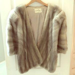 Vintage Fur (REAL) Shawl Coat with Pockets